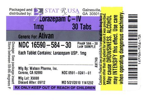 lorazepam pack backside contents
